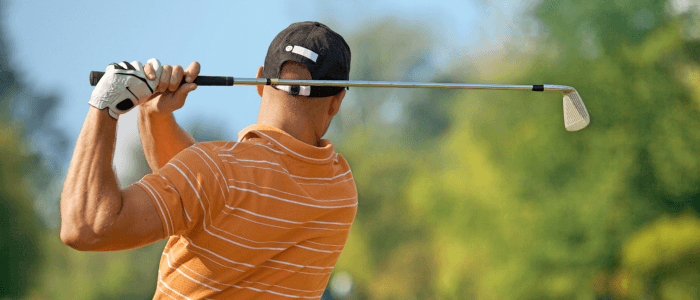 A golfer with tennis elbow. Golf is one of the many lesser known causes of tennis elbow.